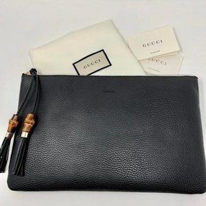 Authentic NEW Gucci Zip black bamboo pouch clutch